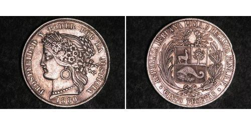 5 Песета Перу Серебро