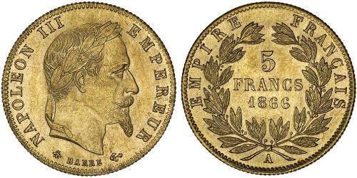 5 Франк Second French Empire (1852-1870) Золото Наполеон ІІІ Бонапарт (1808-1873)