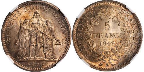 5 Франк Вторая французская республика (1848-1852) Серебро
