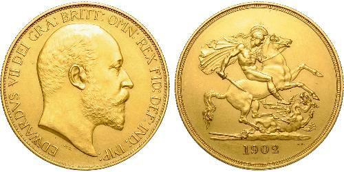 5 Фунт Соединённое королевство Великобритании и Ирландии (1801-1922) Золото Эдуард VII (1841-1910)