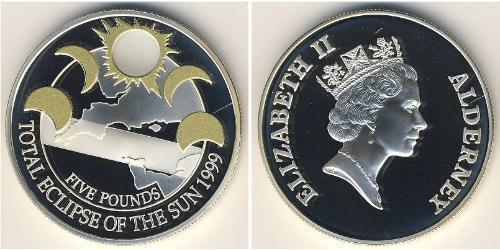 5 Фунт Великобритания (1922-) Серебро Елизавета II (1926-)