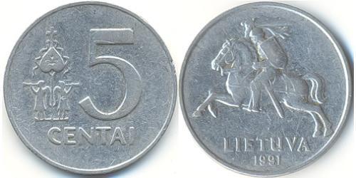 5 Цент Литва (1991 - ) Алюміній