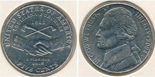 5 Цент США (1776 - ) Никель/Медь Томас Джефферсон (1743-1826)