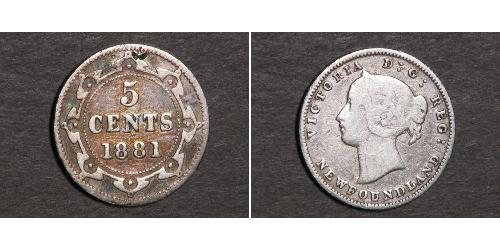 5 Цент Ньюфаундленд и Лабрадор Серебро Виктория (1819 - 1901)