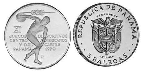 5 Balboa Panamá Argento