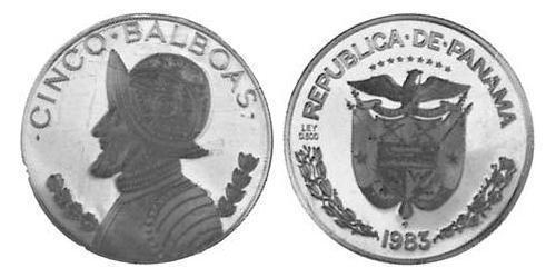 5 Balboa Republic of Panama Silver Vasco Núñez de Balboa (1475 – 1519)