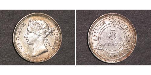 5 Cent British Honduras (1862-1981) 銀 维多利亚 (英国君主)