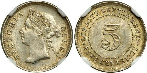 5 Cent Insediamenti dello Stretto (1826 - 1946) Argento Vittoria (1819 - 1901)