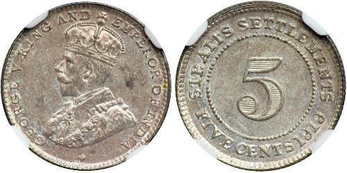 5 Cent Établissements des détroits (1826 - 1946) Cuivre/Nickel George V (1865-1936)