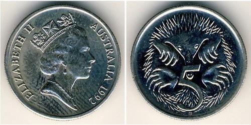 5 Cent Australia (1939 - ) Rame/Nichel Elisabetta II (1926-)