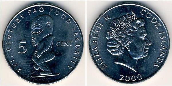 5 Cent Isole Cook Rame/Nichel Elisabetta II (1926-)