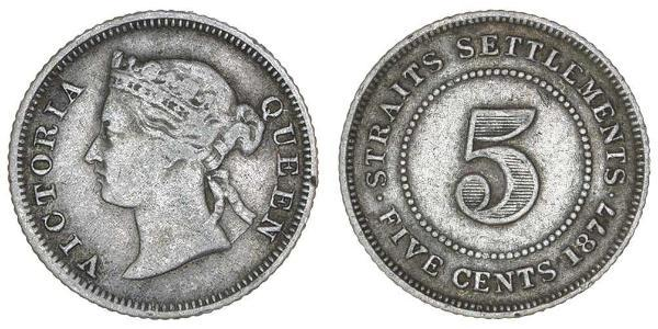 5 Cent Straits Settlements (1826 - 1946) Silver Victoria (1819 - 1901)