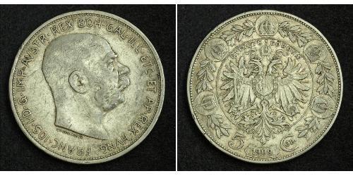 5 Corona Imperio austrohúngaro (1867-1918) Plata Franz Joseph I (1830 - 1916)
