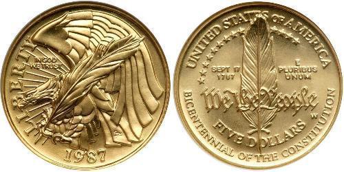 5 Dollar Vereinigten Staaten von Amerika (1776 - ) Gold