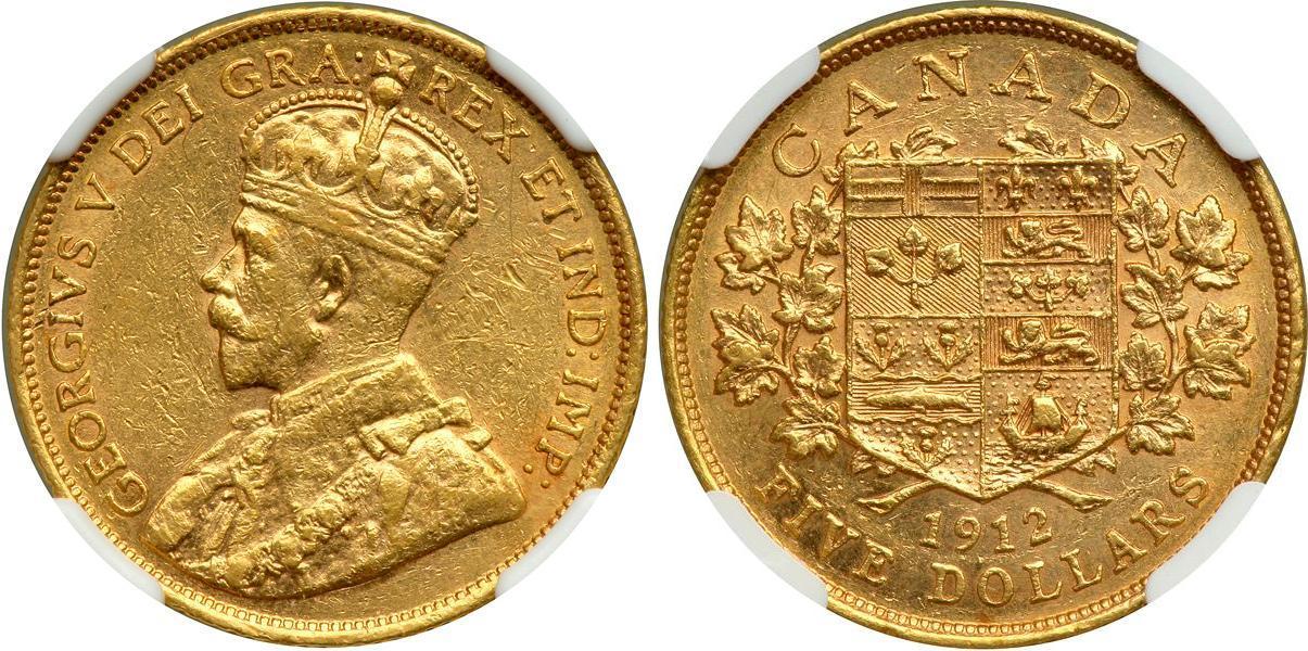 Pi 232 Ce 5 Dollar Canada Or 1912 1932 George V 1865 1936