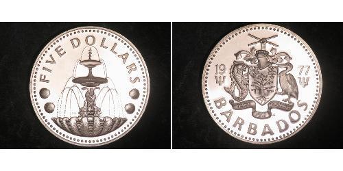 5 Dollar Barbados Silber