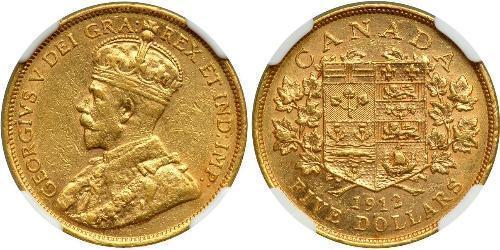 5 Dollaro Canada Oro Giorgio V (1865-1936)