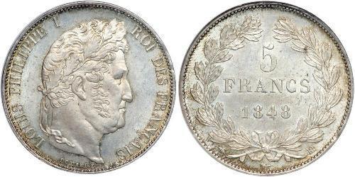 5 Franc Francia / Monarchia di Luglio (1830-1848) Argento Luigi Filippo di Francia (1773 -1850)