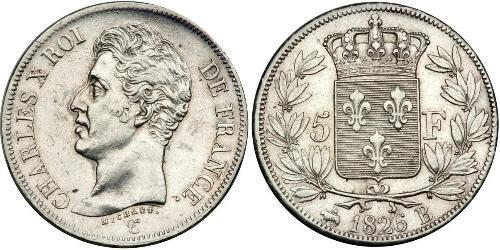 5 Franc Kingdom of France (1815-1830) Argento Carlo X di Francia (1757-1836)