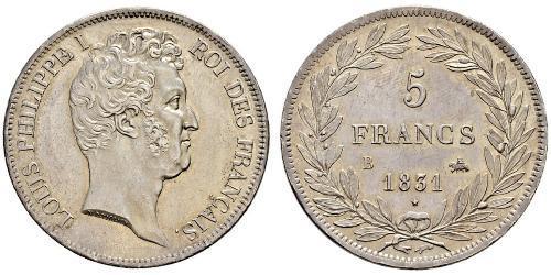 5 Franc Monarchia di Luglio (1830-1848) Argento Luigi Filippo di Francia (1773 -1850)