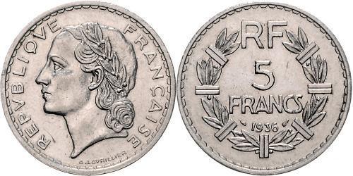 5 Franc Terza Repubblica francese (1870-1940)  Nichel