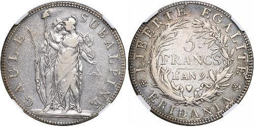 5 Franc Italian city-states Plata