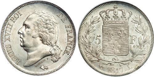 5 Franc Reino de Francia (1815-1830) Plata