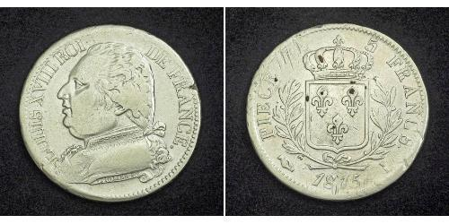 5 Franc Reino de Francia (1815-1830) Plata Luis XVIII de Francia (1755-1824)