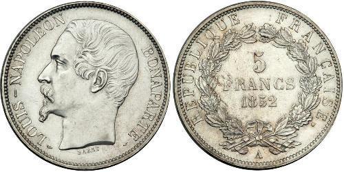 5 Franc Segunda República Francesa (1848-1852) Plata Napoleon III (1808-1873)