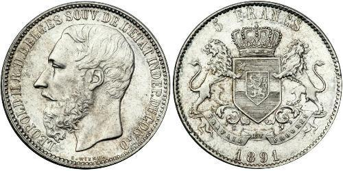 5 Franc Congo Free State (1885 - 1908) Silver Leopold II of Belgium(1835 - 1909)