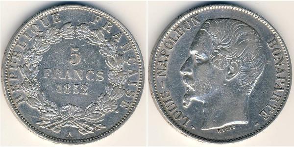 5 Franc French Second Republic (1848-1852) Silver Napoleon III (1808-1873)