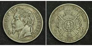 5 Franc Second French Empire (1852-1870) Silver Napoleon III (1808-1873)