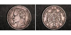 5 Franc Second French Empire (1852-1870) Silver Napoleon III (1808-1873)