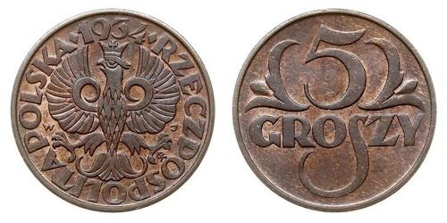 5 Grosh Seconda Repubblica Polacca (1918 - 1939) Rame/Bronzo