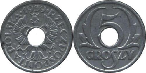 5 Grosh Second Polish Republic (1918 - 1939) Zinc
