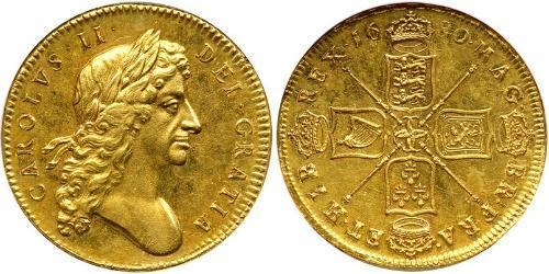 5 Guinea Königreich England (927-1649,1660-1707) Gold Karl II (1630-1685)
