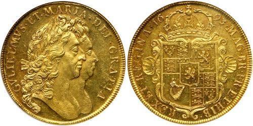 5 Guinea Reino de Inglaterra (927-1649,1660-1707) Oro Guillermo III (1650-1702)