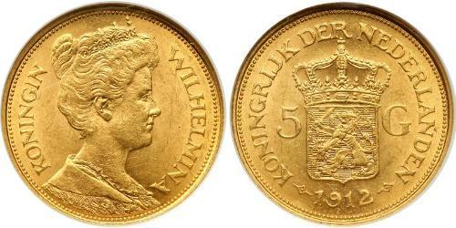 5 Gulden Reino de los Países Bajos (1815 - ) Oro Guillermina de los Países Bajos(1880 - 1962)