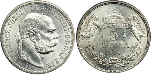 5 Korona Impero austro-ungarico (1867-1918) Argento Franz Joseph I (1830 - 1916)