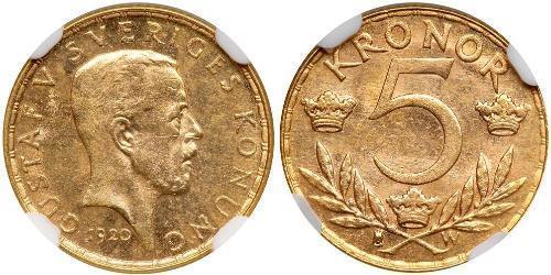 5 Krone Schweden Gold Gustav V. (Schweden) (1858 - 1950)