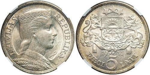 5 Lats 拉脫維亞 銀