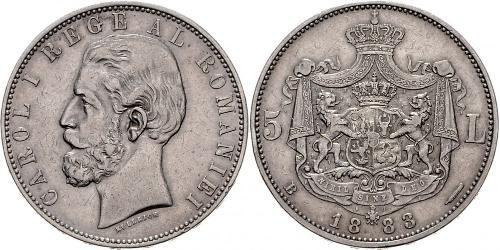 5 Leu Kingdom of Romania (1881-1947) Silver Carol I of Romania (1839 - 1914)