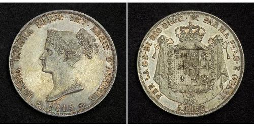 5 Lira 帕爾馬公國 (1545 - 1859) / 意大利 銀 瑪麗·路易莎