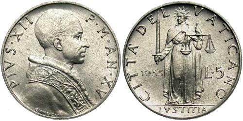 5 Lira Vatican (1926-) Aluminium Pope Pius XII  (1876 - 1958)