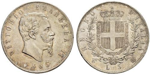 5 Lira Kingdom of Italy (1861-1946) Argent Victor Emmanuel II of Italy (1820 - 1878)
