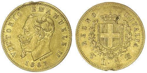 5 Lira Kingdom of Italy (1861-1946) Gold Victor Emmanuel II of Italy (1820 - 1878)
