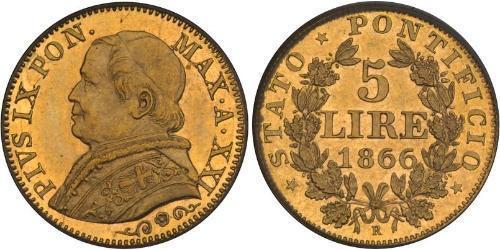 5 Lira Papal States (752-1870) Gold Pope Pius IX (1792- 1878)
