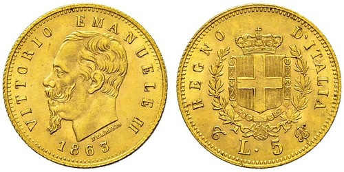 5 Lira Kingdom of Italy (1861-1946) Or Victor Emmanuel II of Italy (1820 - 1878)