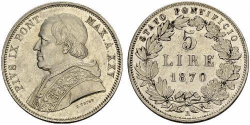 5 Lira Estados Pontificios (752-1870) Plata Pío IX (1792- 1878)