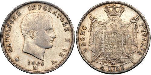 5 Lira Italia Plata Napoleón Bonaparte(1769 - 1821)